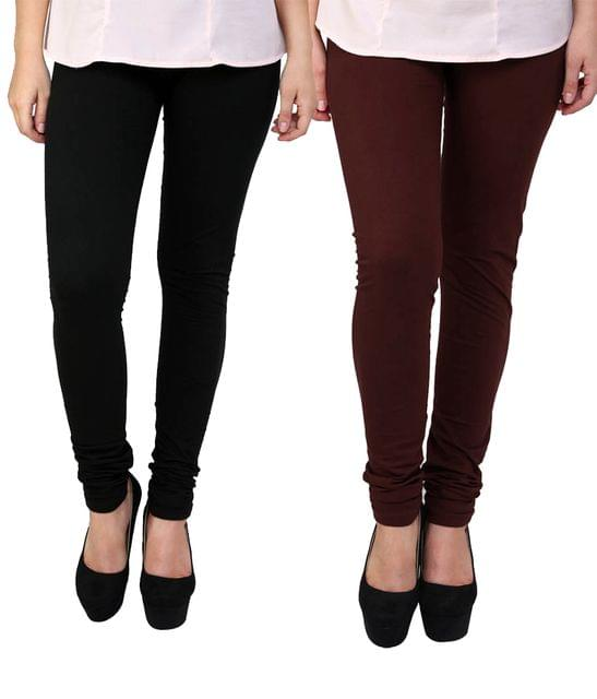 BrandTrendz Black And Brown Cotton Pack Of 2 Leggings