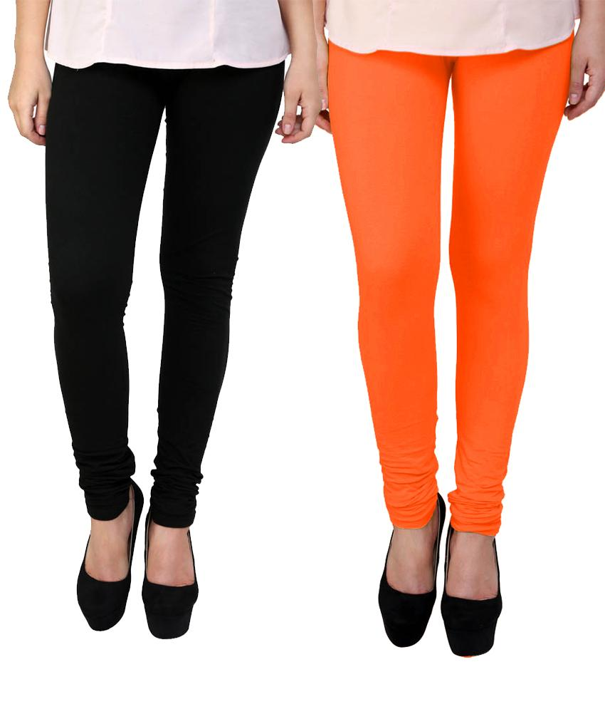 BrandTrendz Black And Orange Cotton Pack Of 2 Leggings