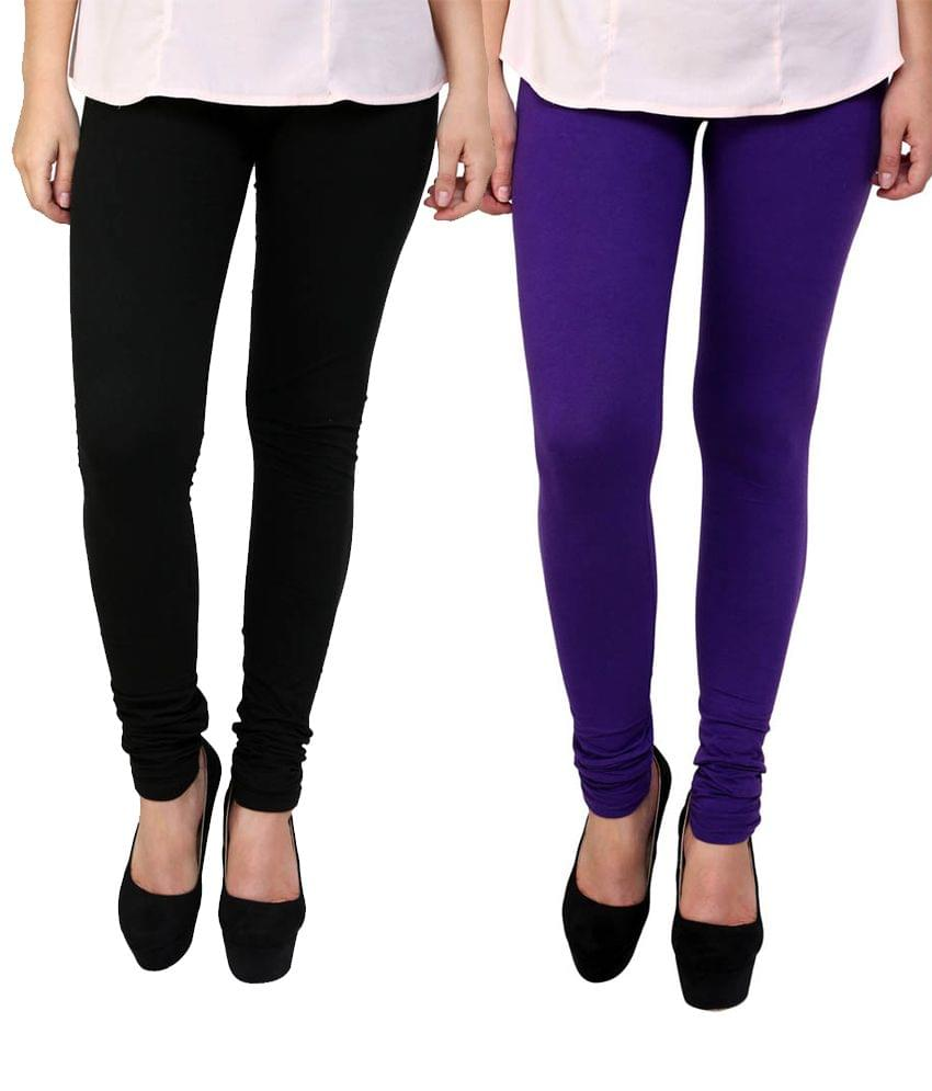 BrandTrendz Black And Purple Cotton Pack Of 2 Leggings