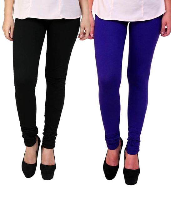 BrandTrendz Black And Blue Cotton Pack Of 2 Leggings