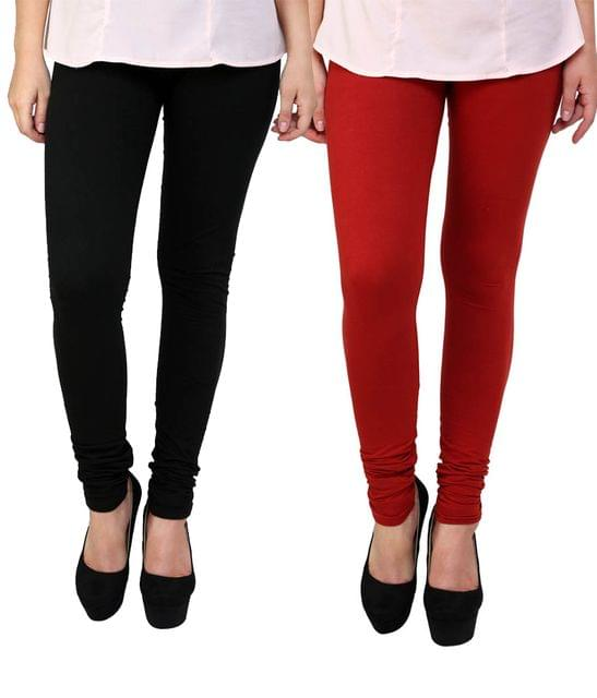 BrandTrendz Black And Red Cotton Pack Of 2 Leggings