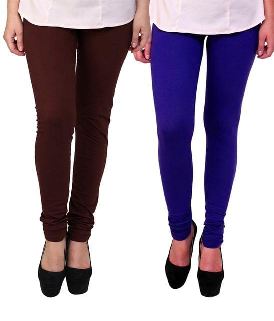 BrandTrendz Brown And Blue Cotton Pack Of 2 Leggings