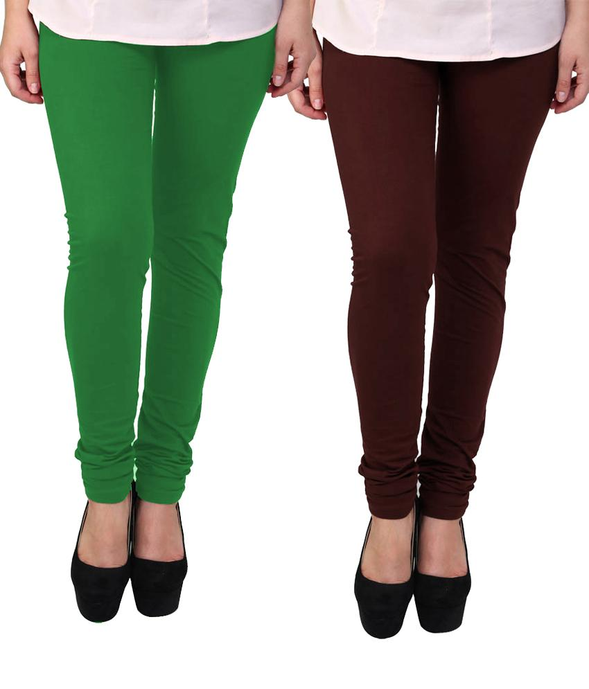 BrandTrendz Green And Brown Cotton Pack Of 2 Leggings