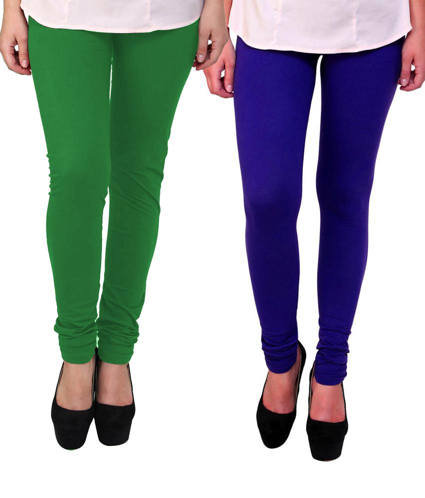 BrandTrendz Green And Blue Cotton Pack Of 2 Leggings