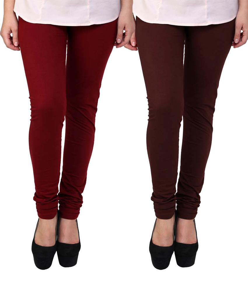 BrandTrendz Maroon And Brown Cotton Pack Of 2 Leggings