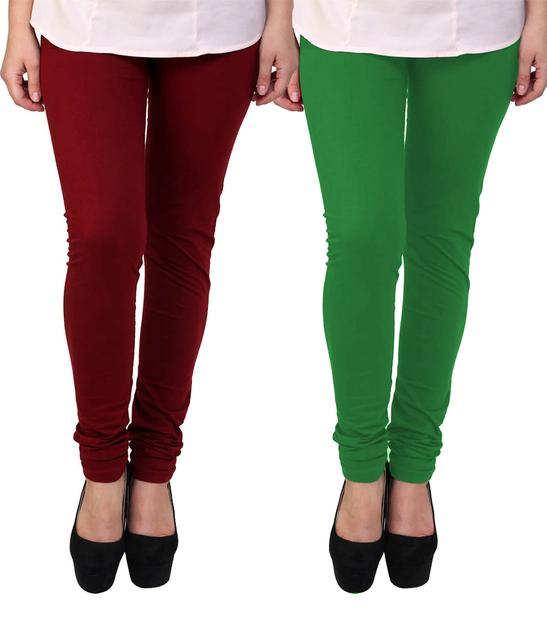 BrandTrendz Maroon And Green Cotton Pack Of 2 Leggings