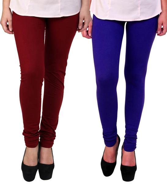 BrandTrendz Maroon And Blue Cotton Pack Of 2 Leggings
