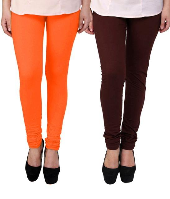 BrandTrendz Orange And Brown Cotton Pack Of 2 Leggings