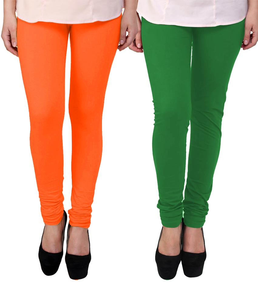 BrandTrendz Orange And Green Cotton Pack Of 2 Leggings