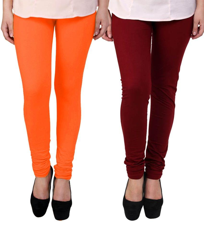 BrandTrendz Orange And Maroon Cotton Pack Of 2 Leggings