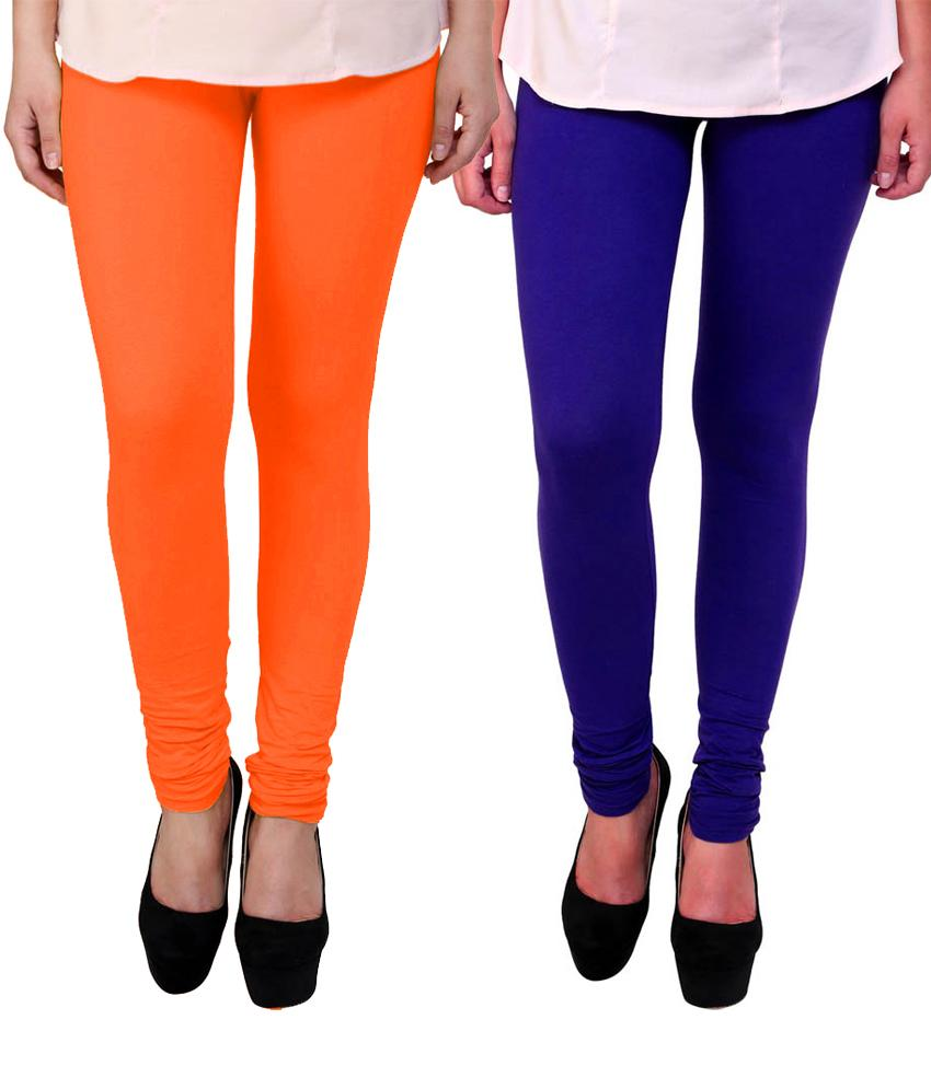 BrandTrendz Orange And Blue Cotton Pack Of 2 Leggings