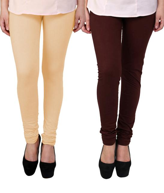 BrandTrendz Peach And Brown Cotton Pack Of 2 Leggings