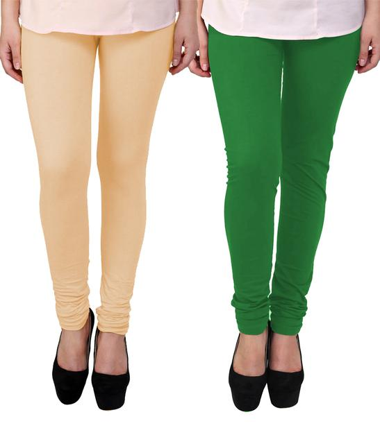 BrandTrendz Peach And Green Cotton Pack Of 2 Leggings