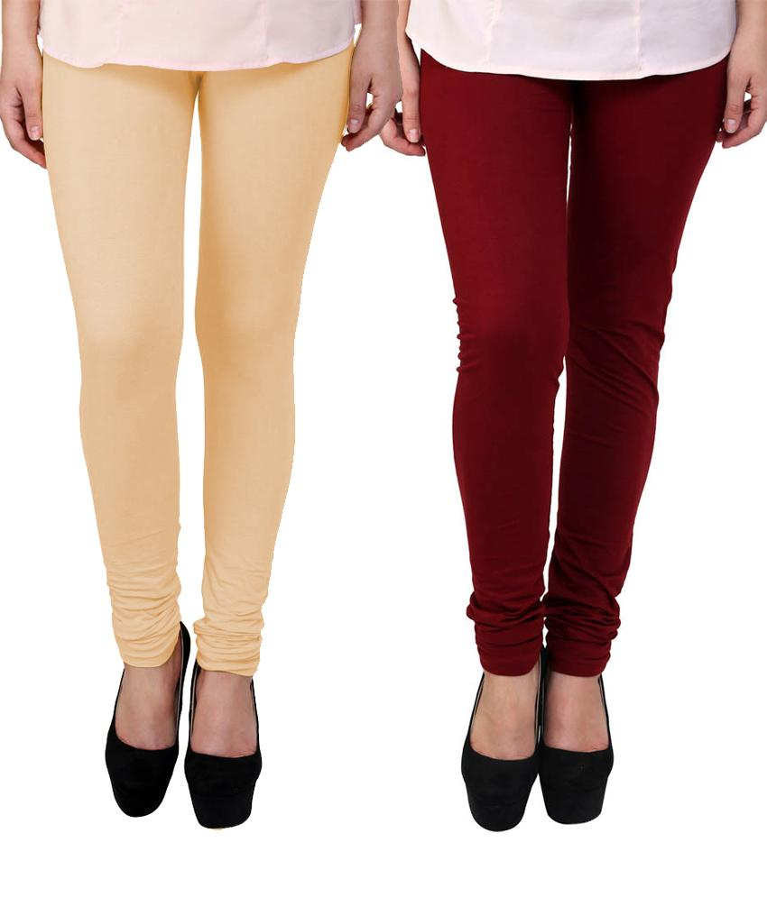 BrandTrendz Peach And Maroon Cotton Pack Of 2 Leggings