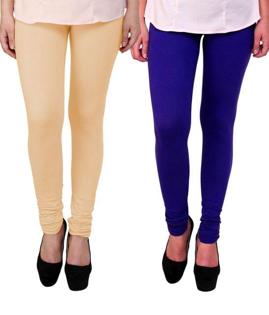 BrandTrendz Peach And Blue Cotton Pack Of 2 Leggings