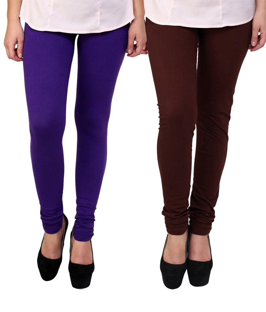BrandTrendz Purple And Brown Cotton Pack Of 2 Leggings