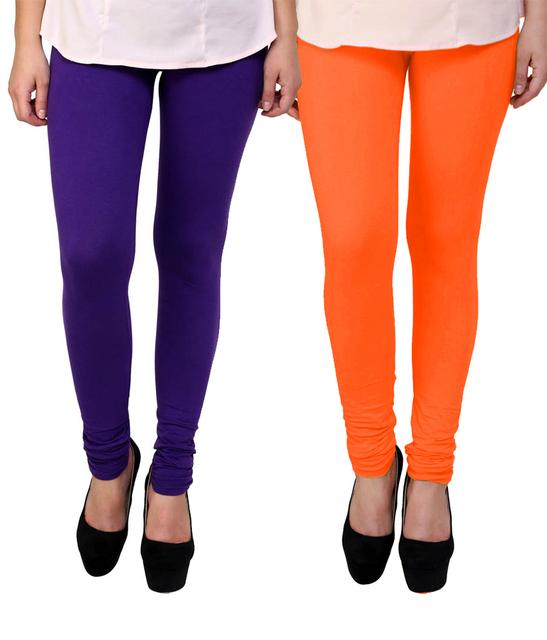 BrandTrendz Purple And Orange Cotton Pack Of 2 Leggings