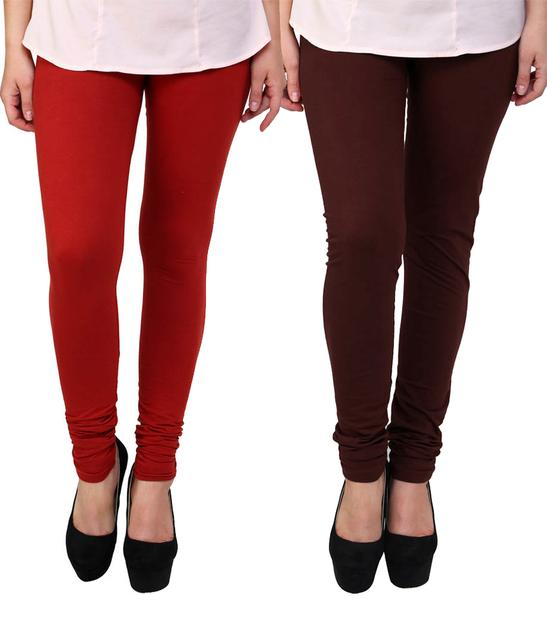 BrandTrendz Red And Brown Cotton Pack Of 2 Leggings