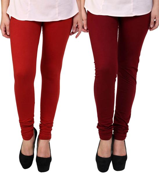 BrandTrendz Red And Maroon Cotton Pack Of 2 Leggings