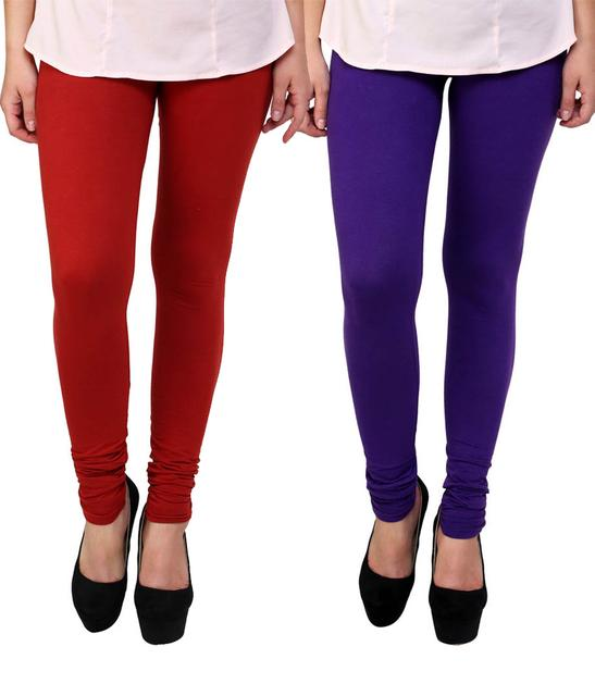 BrandTrendz Red And Purple Cotton Pack Of 2 Leggings