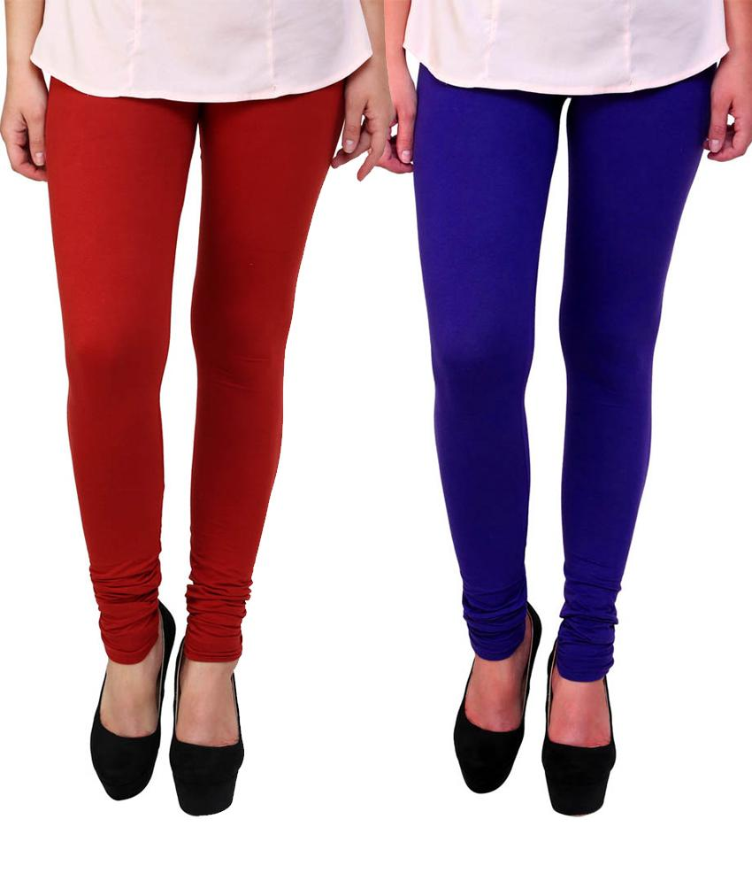 BrandTrendz Red And Blue Cotton Pack Of 2 Leggings