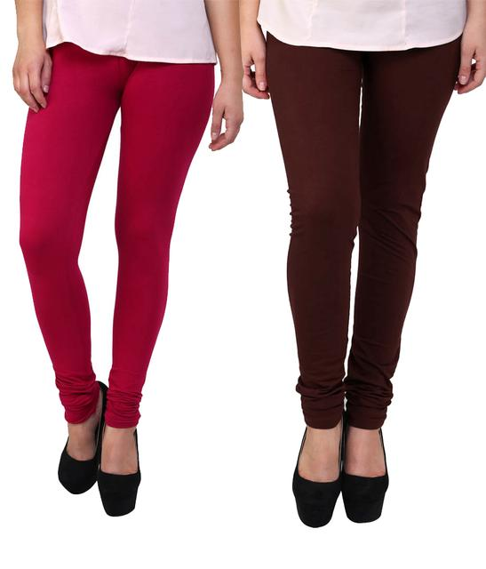 BrandTrendz Pink And Brown Cotton Pack Of 2 Leggings