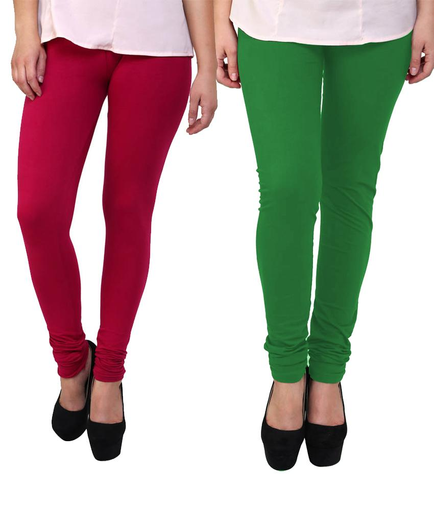 BrandTrendz Pink And Green Cotton Pack Of 2 Leggings