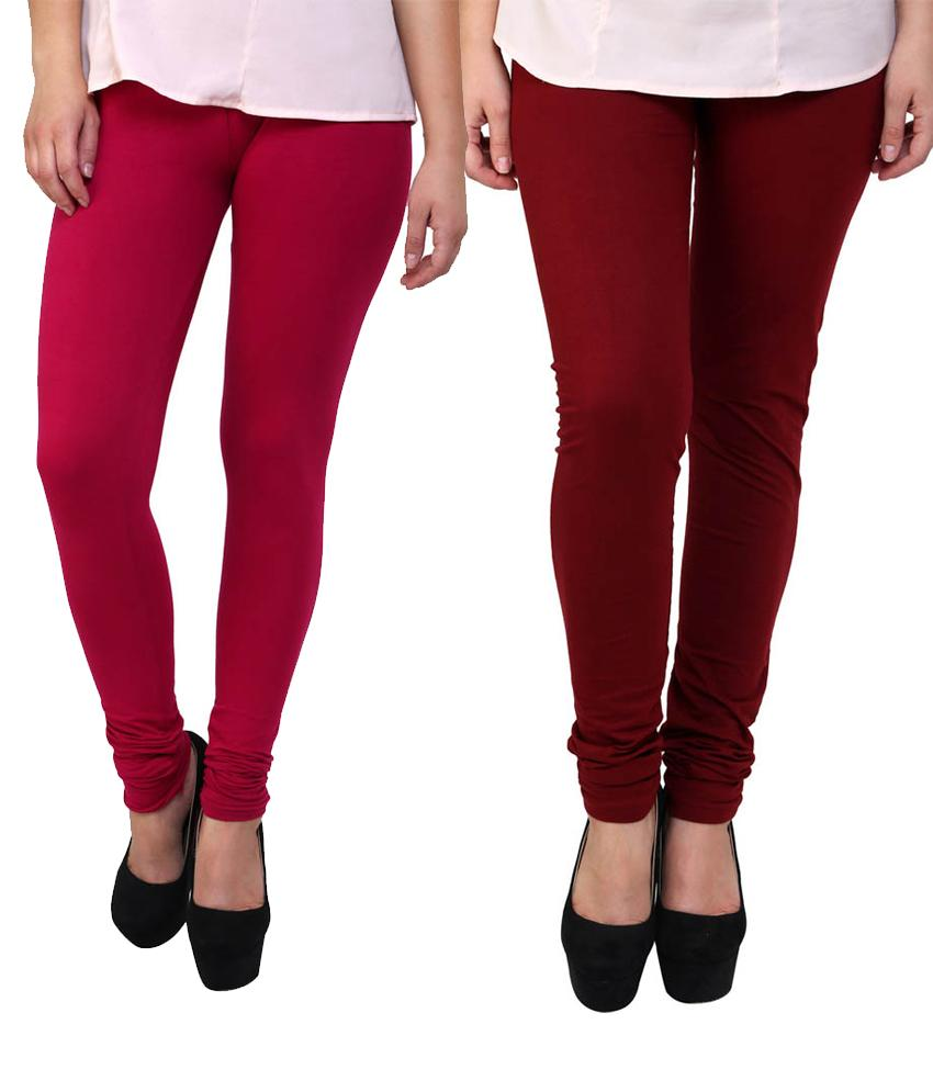 BrandTrendz Pink And Maroon Cotton Pack Of 2 Leggings
