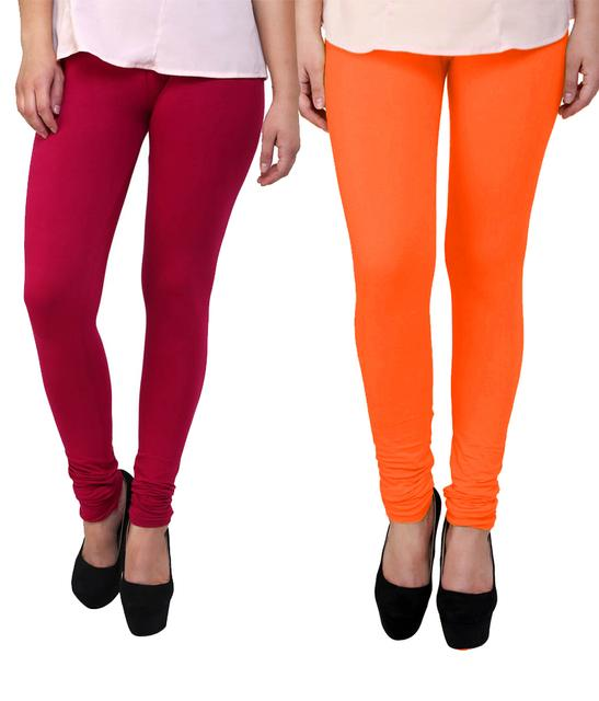BrandTrendz Pink And Orange Cotton Pack Of 2 Leggings