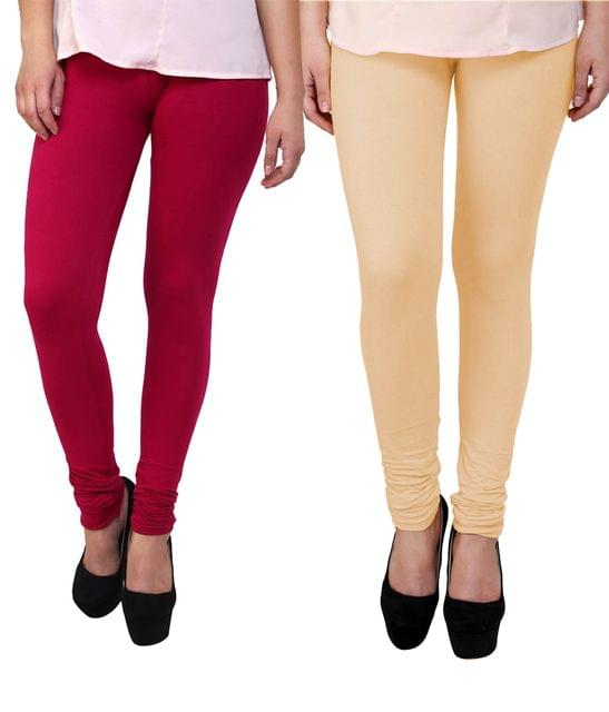 BrandTrendz Pink And Peach Cotton Pack Of 2 Leggings