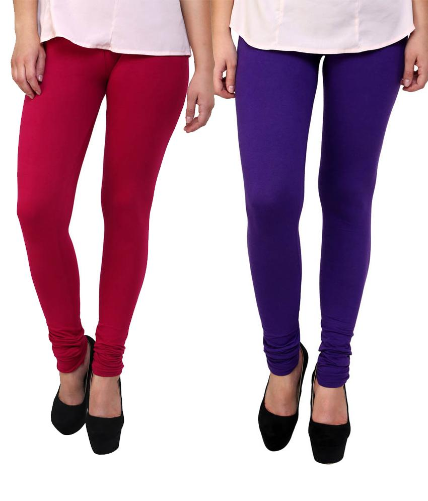BrandTrendz Pink And Purple Cotton Pack Of 2 Leggings