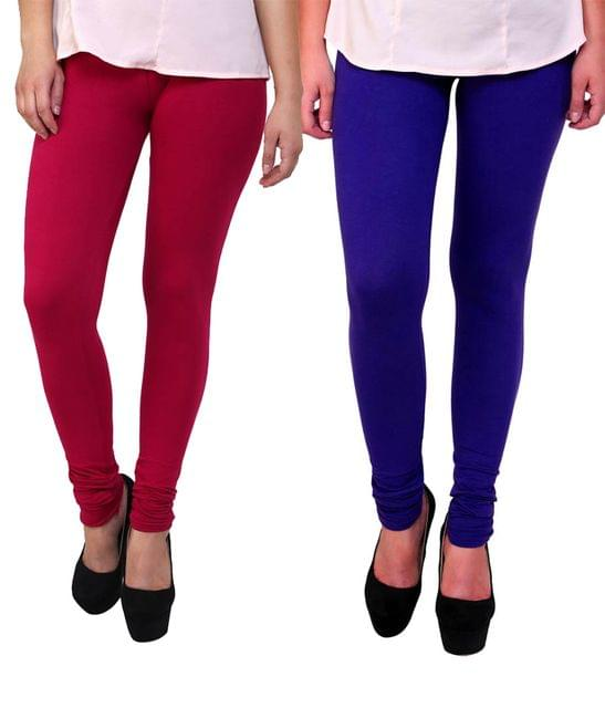 BrandTrendz Pink And Blue Cotton Pack Of 2 Leggings