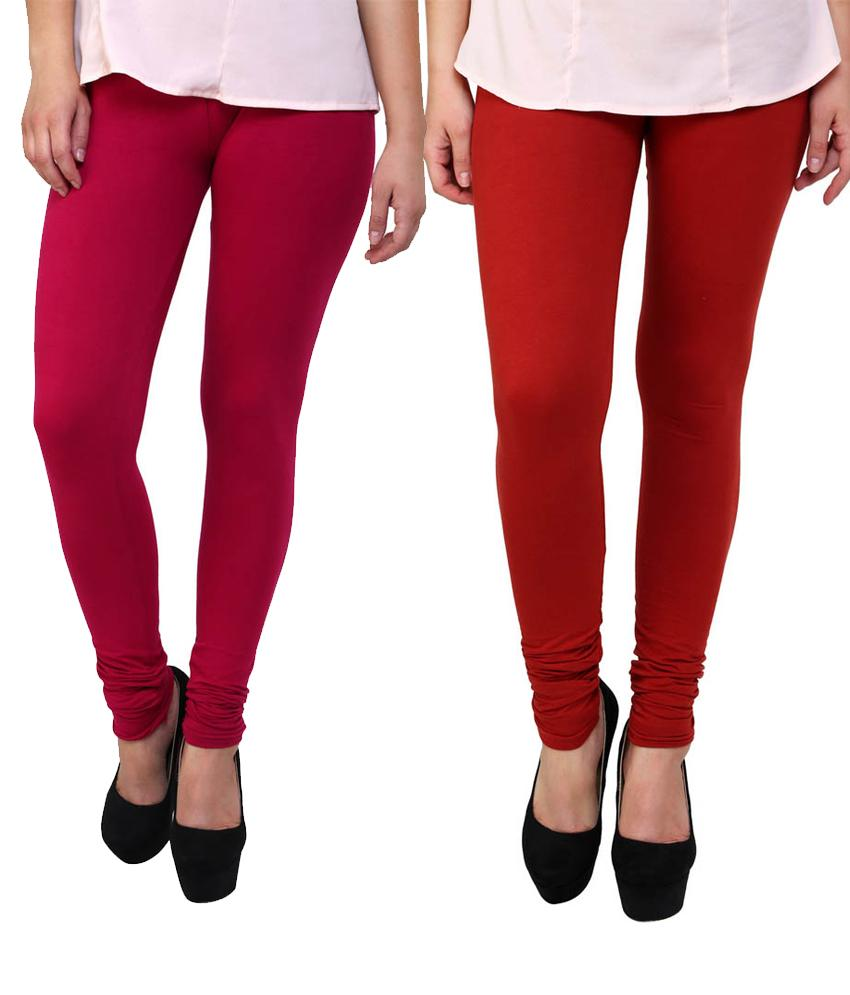 BrandTrendz Pink And Red Cotton Pack Of 2 Leggings