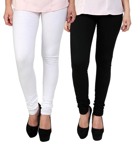 BrandTrendz White And Black Cotton Pack Of 2 Leggings