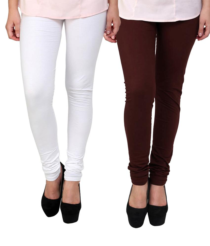 BrandTrendz White And Brown Cotton Pack Of 2 Leggings