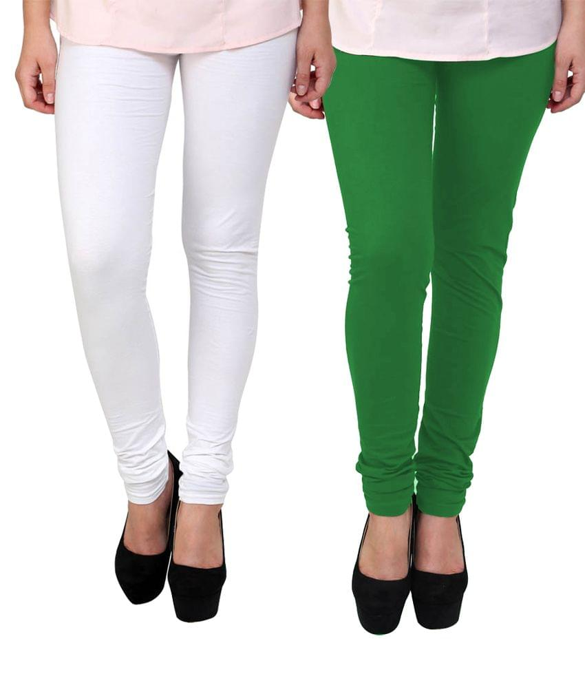 BrandTrendz White And Green Cotton Pack Of 2 Leggings