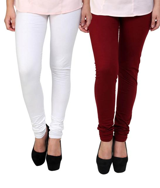 BrandTrendz White And Maroon Cotton Pack Of 2 Leggings