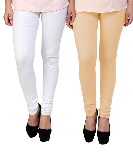 BrandTrendz White And Peach Cotton Pack Of 2 Leggings
