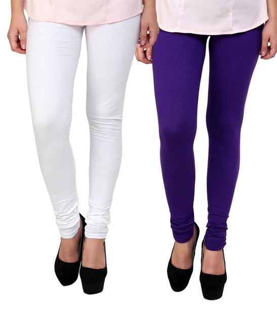BrandTrendz White And Purple Cotton Pack Of 2 Leggings