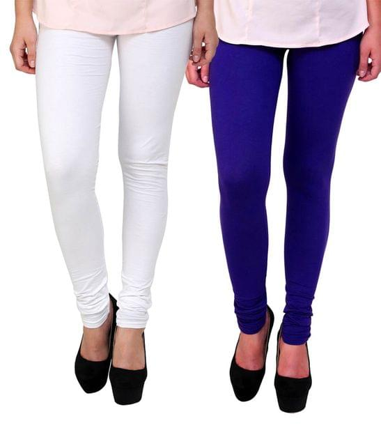 BrandTrendz White And Blue Cotton Pack Of 2 Leggings