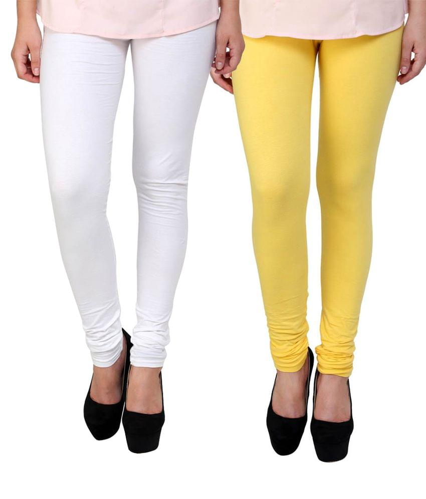 BrandTrendz White And Yellow Cotton Pack Of 2 Leggings