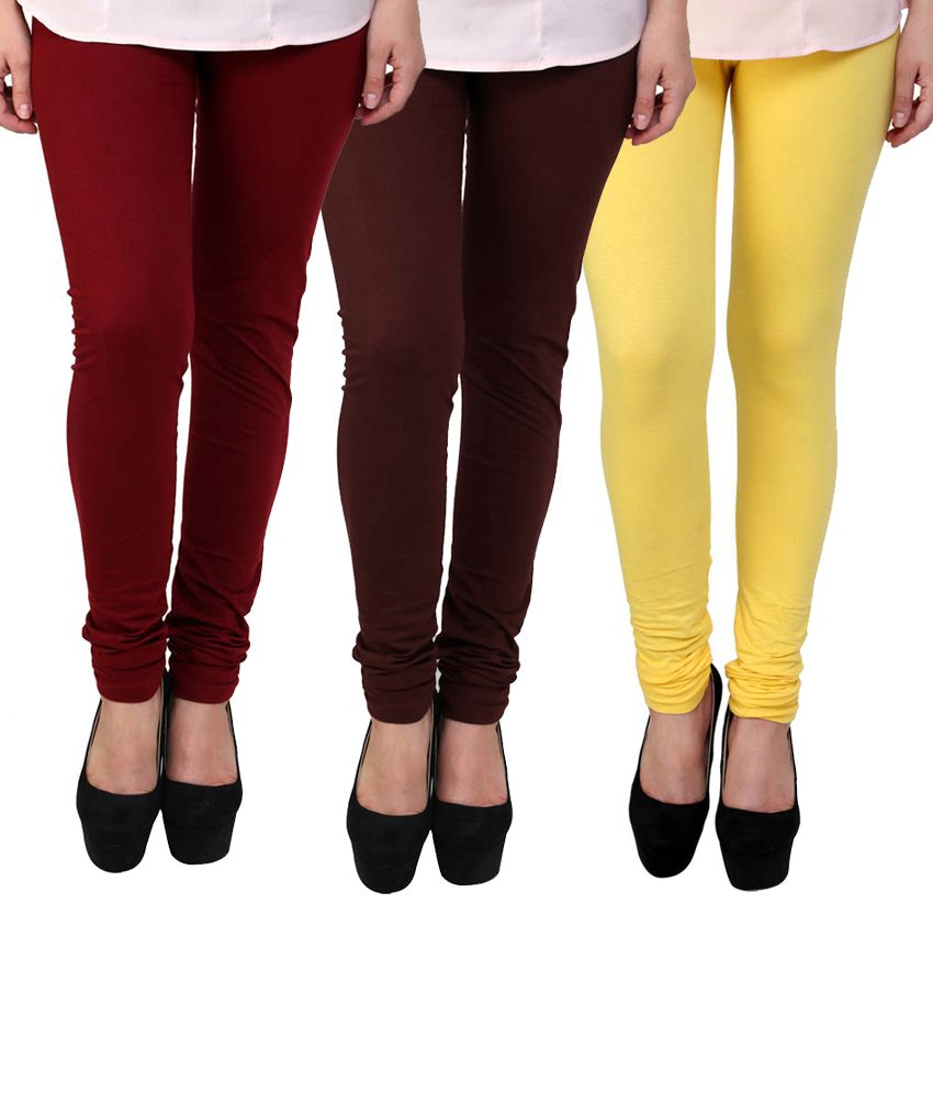 BrandTrendz MultiColor Cotton Pack Of 3 Leggings