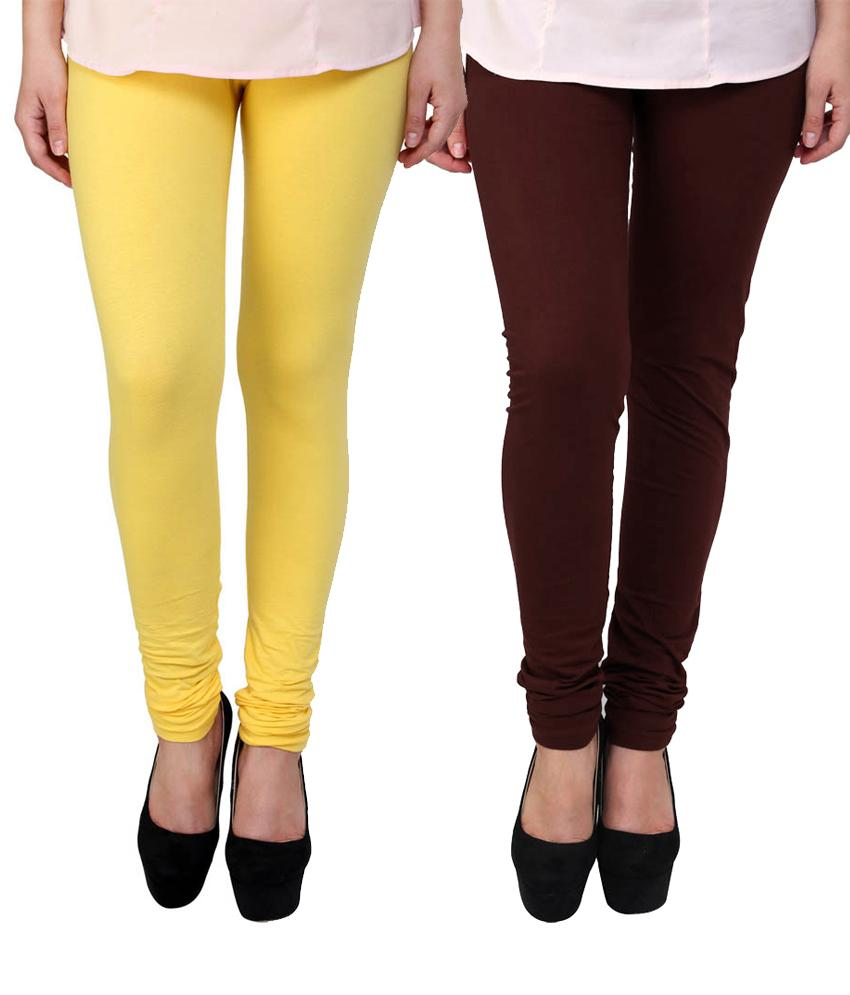 BrandTrendz  Yellow And Brown Cotton Pack Of 2 Leggings