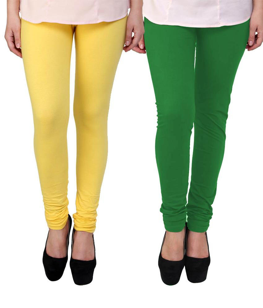 BrandTrendz  Yellow And Green Cotton Pack Of 2 Leggings