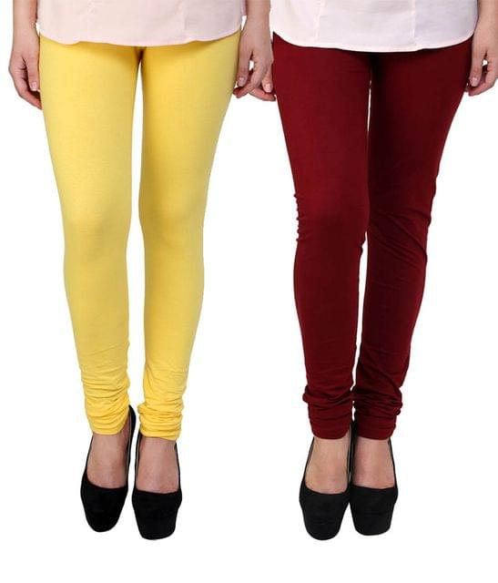 BrandTrendz  Yellow And Maroon Cotton Pack Of 2 Leggings