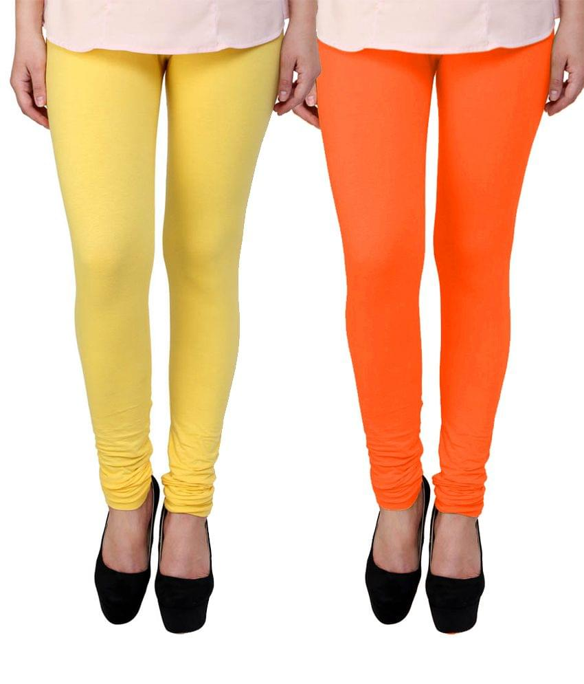 BrandTrendz  Yellow And Orange Cotton Pack Of 2 Leggings