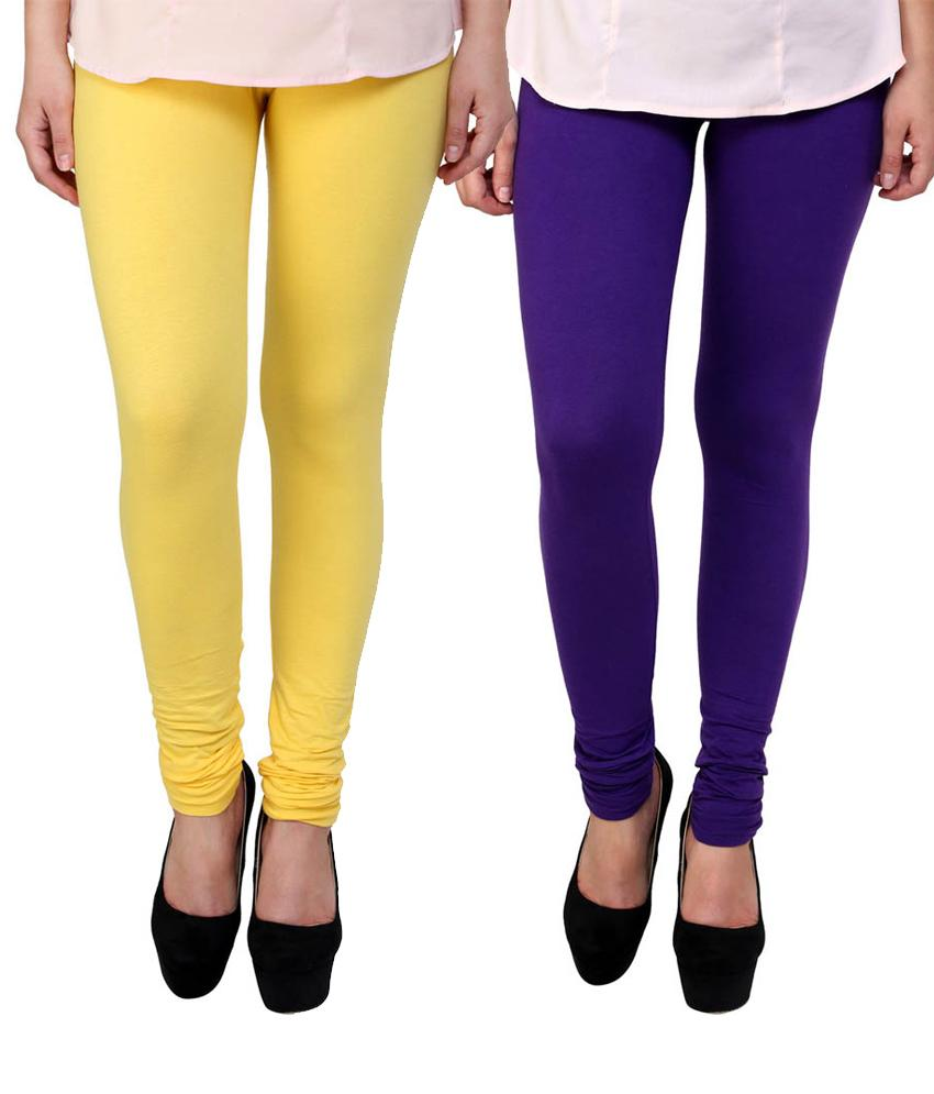 BrandTrendz Yellow And Purple Cotton Pack Of 2 Leggings