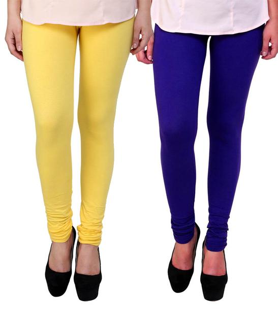 BrandTrendz Yellow And Blue Cotton Pack Of 2 Leggings