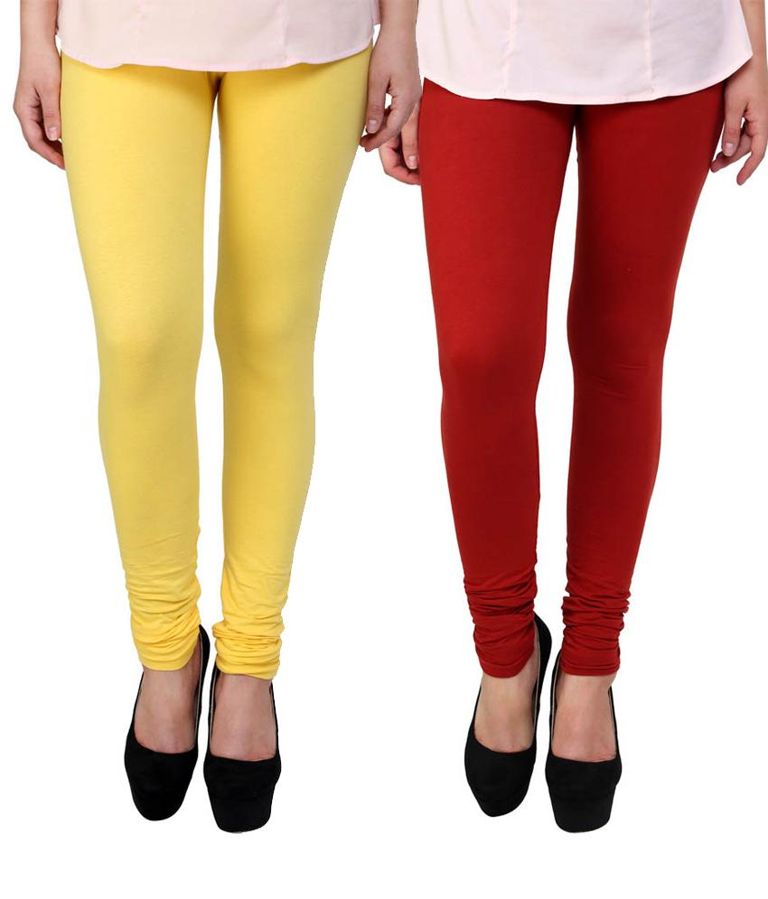 BrandTrendz Yellow And Red Cotton Pack Of 2 Leggings