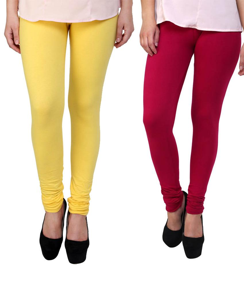 BrandTrendz Yellow And Pink Cotton Pack Of 2 Leggings